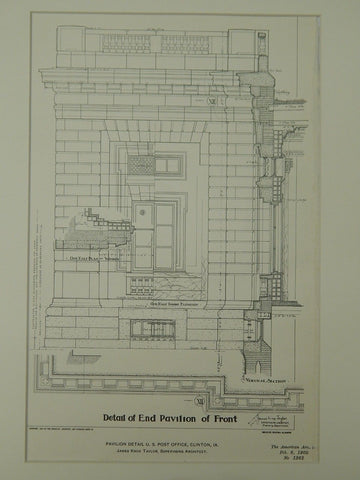 Pavilion Detail, U.S. Post Office, Clinton, IA, 1902, Original Plan. James Knox Taylor.