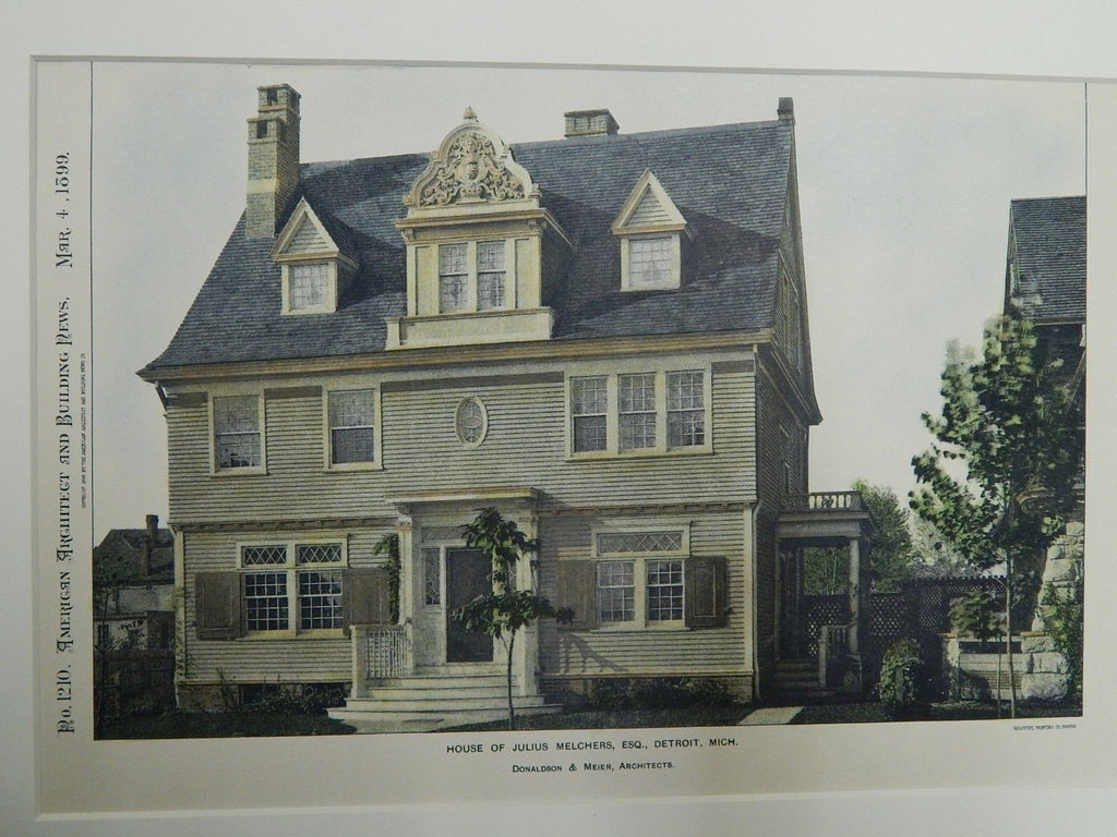 House of Julius Melchers, Esq., Detroit, MI, 1899. Colored Photograph. Donaldson & Meier.
