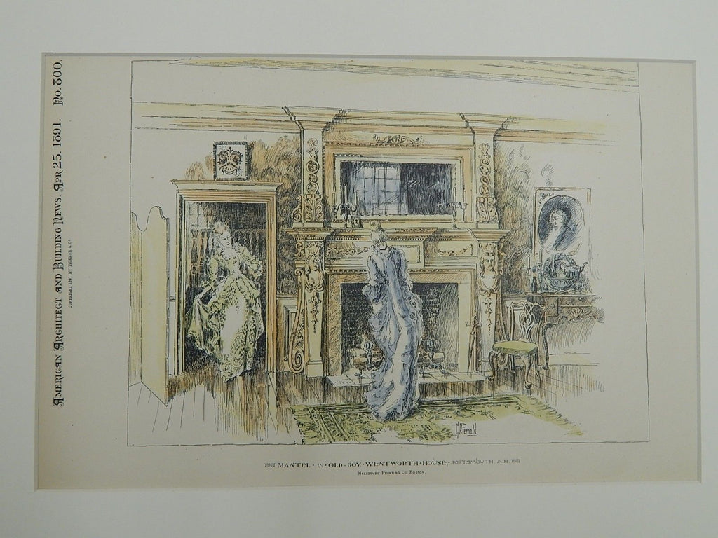 Mantel, Old Gov. Wentworth House, Portsmouth, NH. 1891. Original Plan.