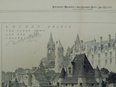 Upper Town & Chateau, Loches, France, 1894, Original Plan.