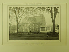 House of Mrs. N. V. L'Hommedieu, South Orange, NJ, 1914, Lithograph. Dillon, McLellan & Beadel.