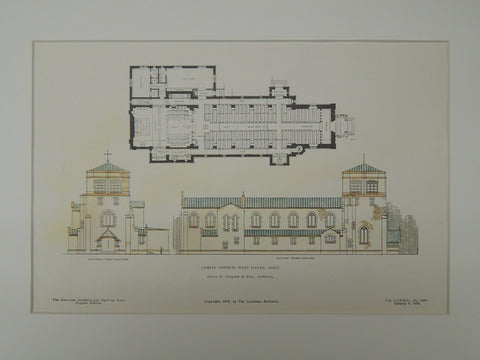 Elevations and Floor Plan, Christ Church, West Haven, CT, 1906, Original Plan. Henry M. Cogdon & Sons.