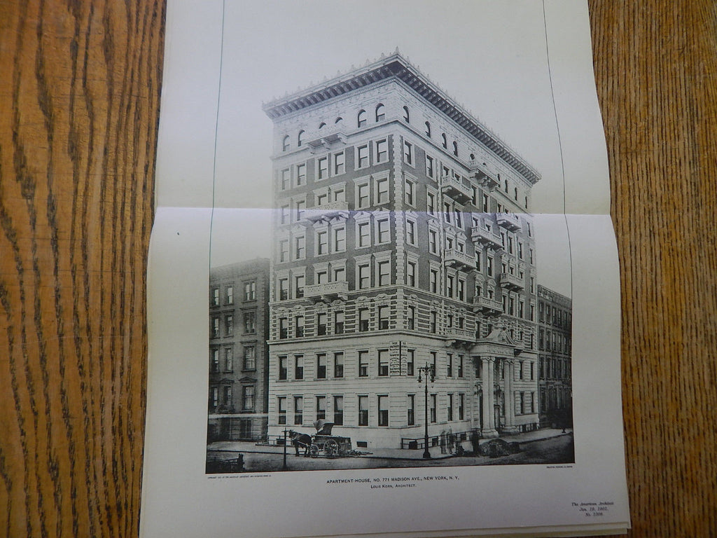 Apartment-House, No. 771 Madison Ave.,New York, NY,1901, Lithograph. Louis Korn.