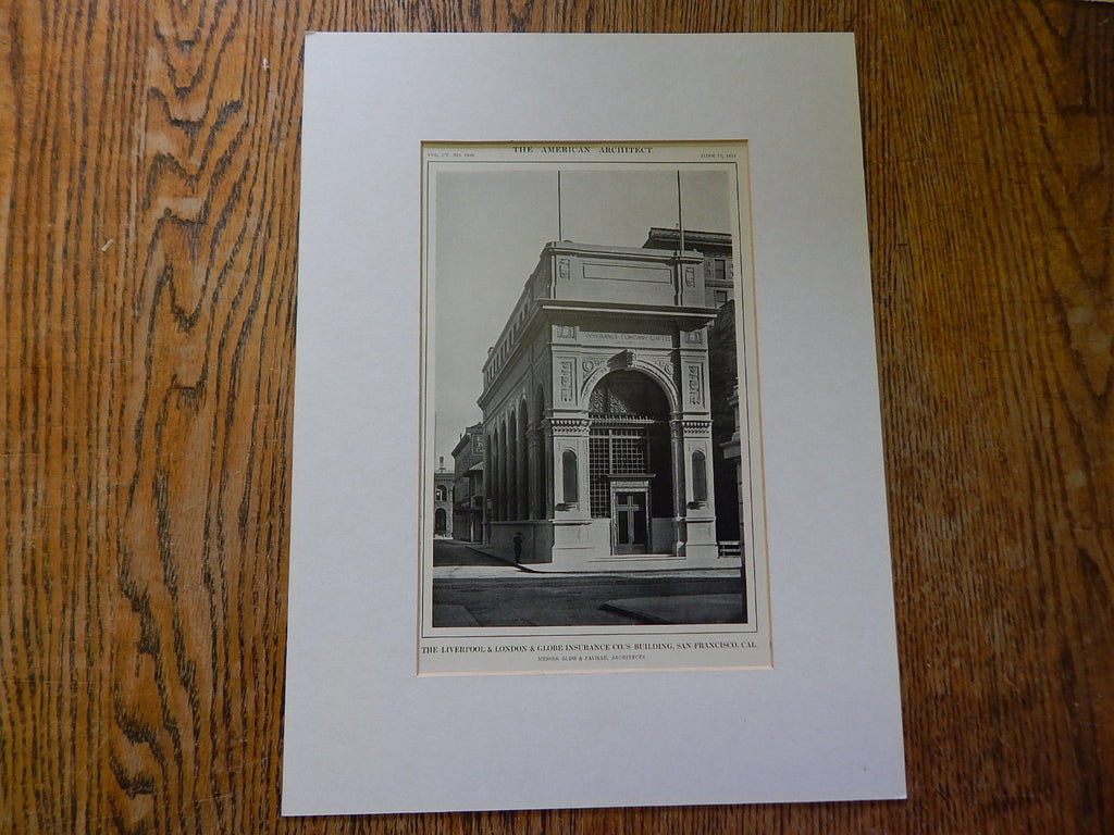 Liverpool & London & Globe Insurance Co Bldg,San Francisco,CA, Lithograph,1914. Bliss & Faville.