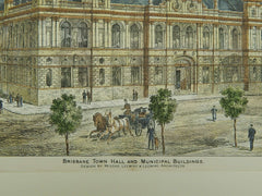 Town Hall and Municipal Buildings, Brisbane, Australia, 1884, Original Plan. Leeming & Leeming.