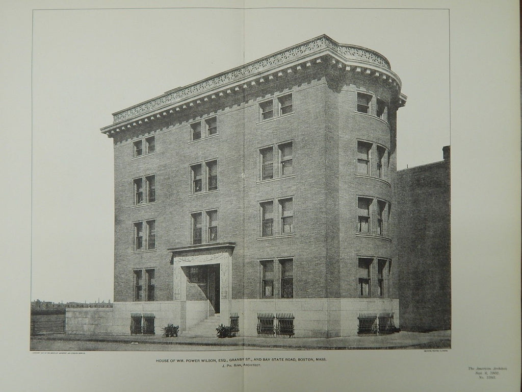 House of Wm. Power Wilson, Boston, MA, 1902, Lithograph. J. Ph. Rinn.