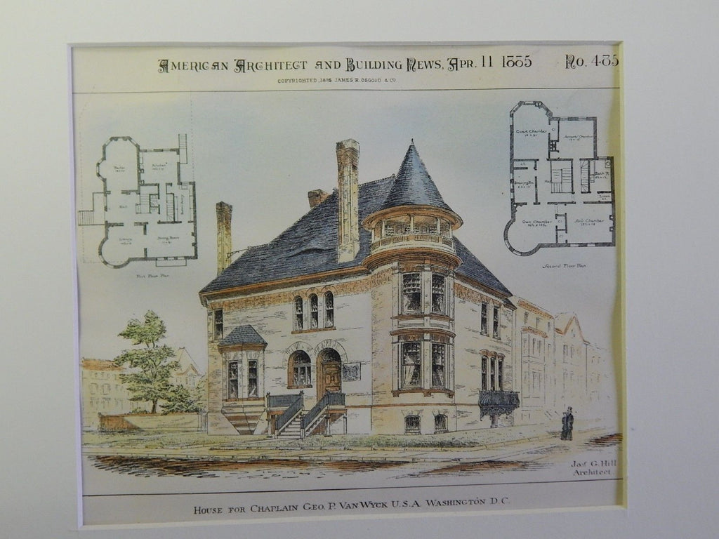 House for Chaplain Geo. P. Van Wyck, Washington DC, 1885. Original Plan. Hill.