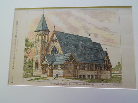 Bishop Whittington Memorial Church, Baltimore, MD 1883. Original Plan. Charles Cassell.