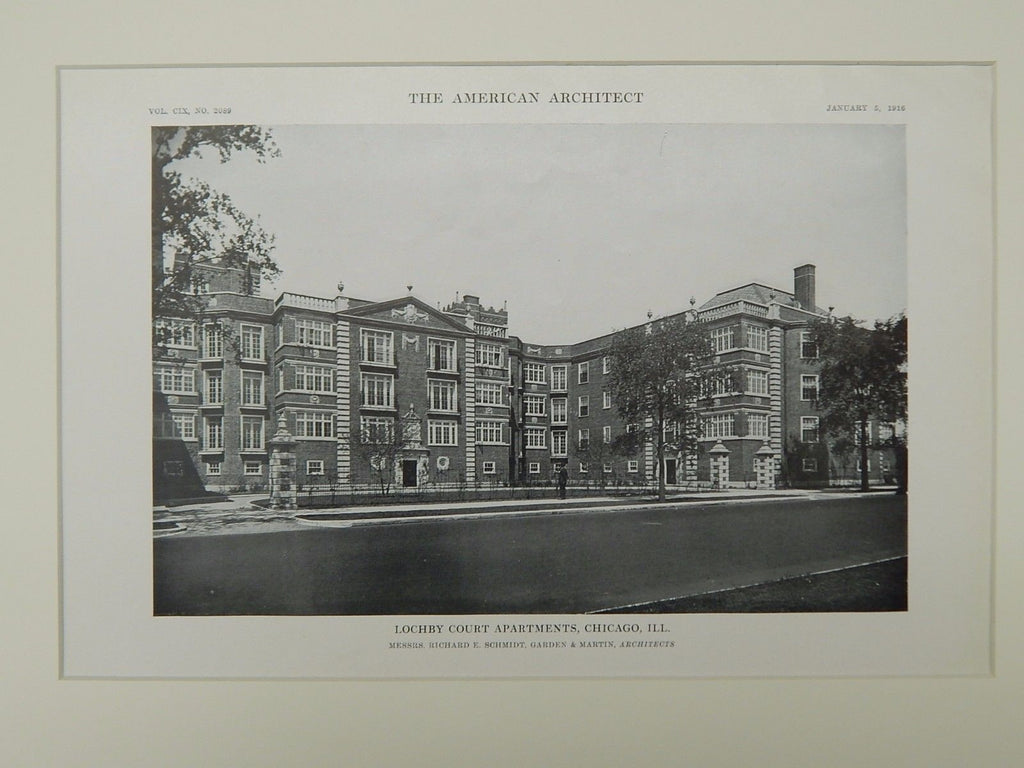 Lochby Court Apartments, Chicago, IL, 1916, Lithograph. Schmidt, Garden, Martin.
