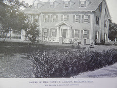 House of Mrs. Henry W. Jackson, Brookline, MA,Lithograph,1914. Greenleaf.