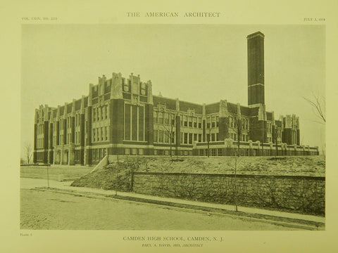 Camden High School, Camden, NJ, 1918, Lithograph. Paul A. Davis, 3rd.