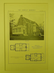 Rear View, House of Mrs. N. V. L'Hommedieu, South Orange, NJ, 1914, Lithograph. Dillon, McLellan & Beadel.