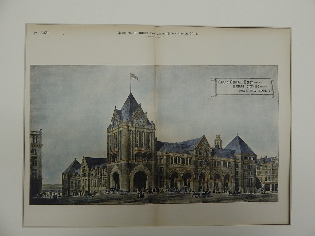 Grand Central Depot, Kansas City, MO. 1891. Original Plan. James & James.