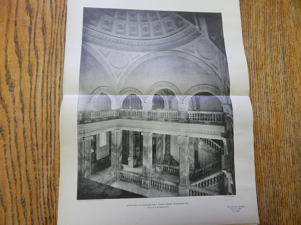 Upper Part of Staircase Hall:Public Library, Milwaukee, WI,1901, Lithograph. Ferry & Clas.