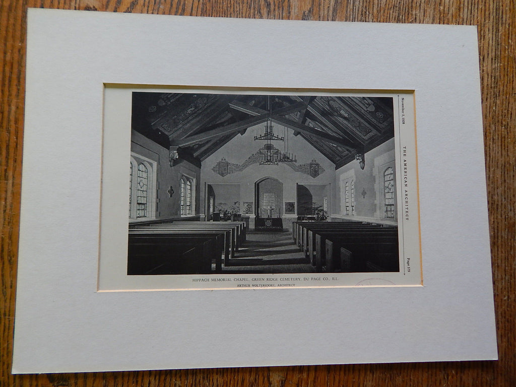 Hippach Memorial Chapel,Green Ridge Cemetery,Du Page Co.ILL.,1928, Lithograph. Arthur Woltersdorf.