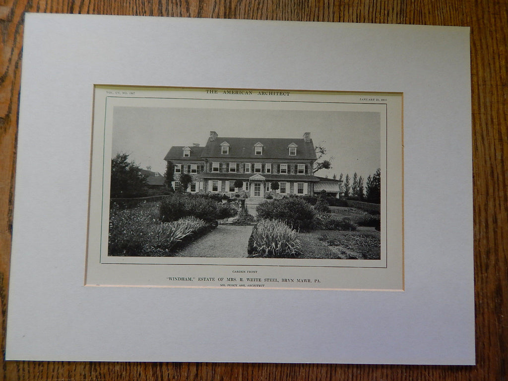 Windham, Estate of Mrs. R.White Steel, Bryn Mawr,PA, Lithograph,1914. Percy Ash.