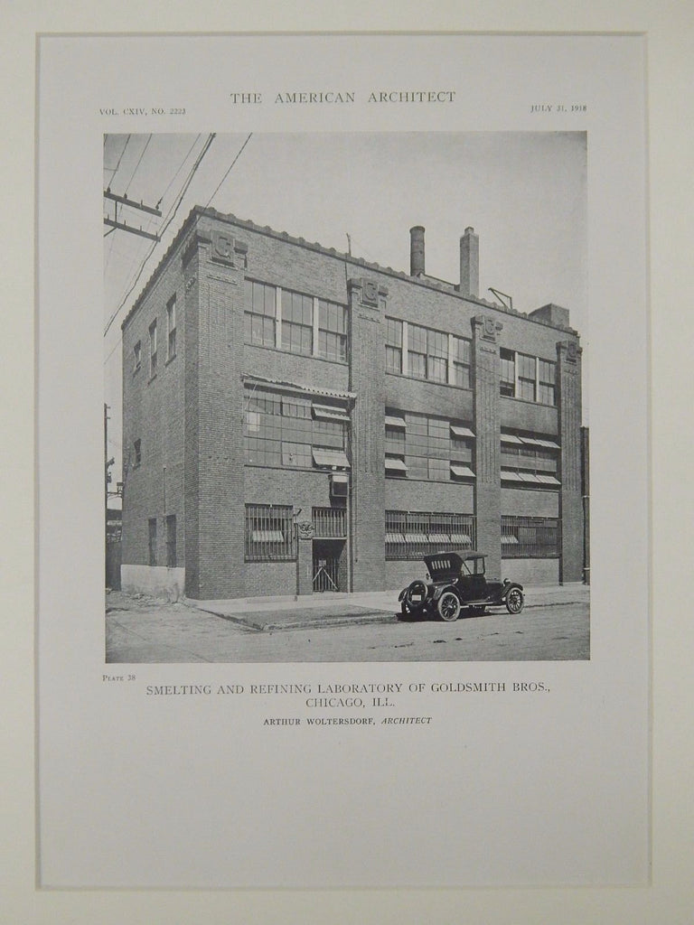Smelting & Refining Laboratory of Goldsmith Bros., Chicago, IL, 1918, Lithograph. Arthur Woltersdorf.