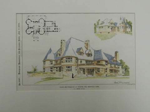 House & Stable of A.N. Belding, Esq., Rockville, CT, 1896. Original Plan. Brown.