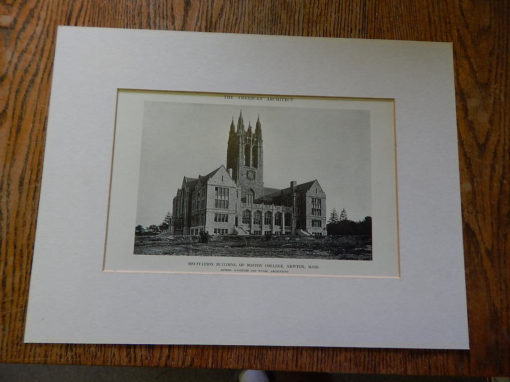Recitation Bldg of Boston College, Exterior, Newton, MA, Lithograph,1914. Maginnis&Walsh.
