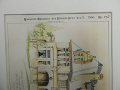 House for Mr. C.H.Elmendorf, Kearney, NE, 1890, Original Plan.Frank Bailey & Farmer.