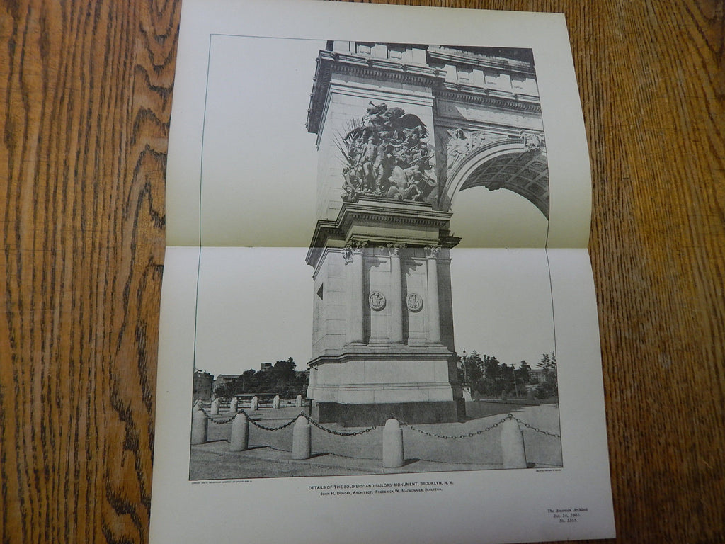 Detail Soldiers & Sailors Monument, Brooklyn, NY, 1902, Lithograph. Duncan.