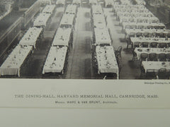 The Dining Hall, Harvard Memorial Hall, Cambridge, MA, 1885, Photogravure. Ware & Van Brunt.