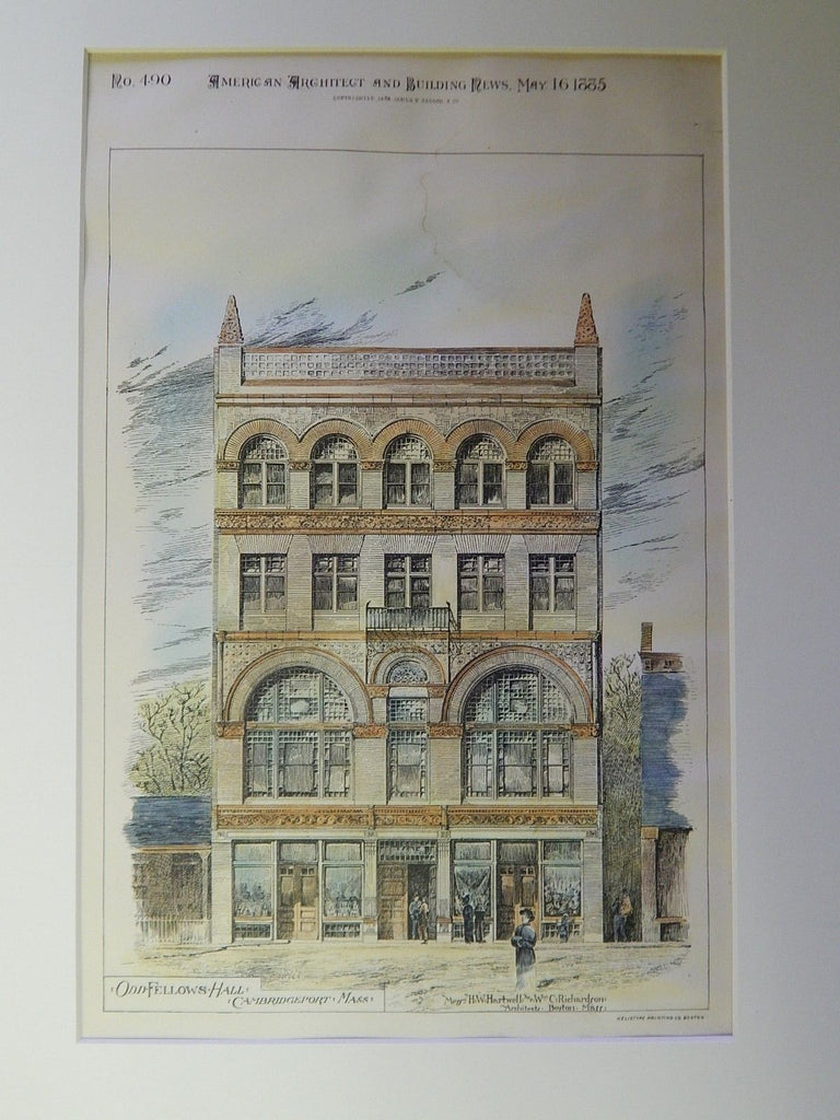 Odd Fellows Hall, Cambridgeport, MA, 1885. Original Plan. Hartwell & Richardson.