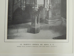 Detail, St. Martin's Church, Mt. Kisco, NY, 1914. Lithograph. Cram, Goodhue, & Ferguson.