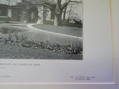 Front View:House of E.J. Bliss, Nr Chestnut Hill Reservoir, MA,1905,Litho.