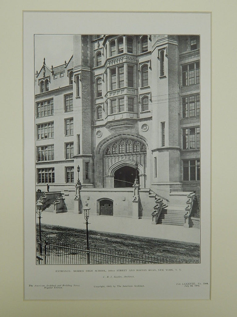 Entrance, Morris High School, New York, NY, 1905, Lithograph. C. B. J. Snyder.