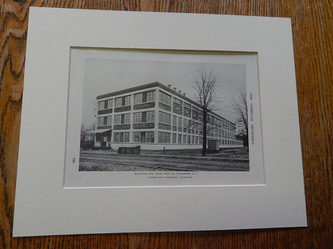 Building For Diehl MFG, Elizabeth, NJ, 1915. Lithograph. Day & Zimmerman.