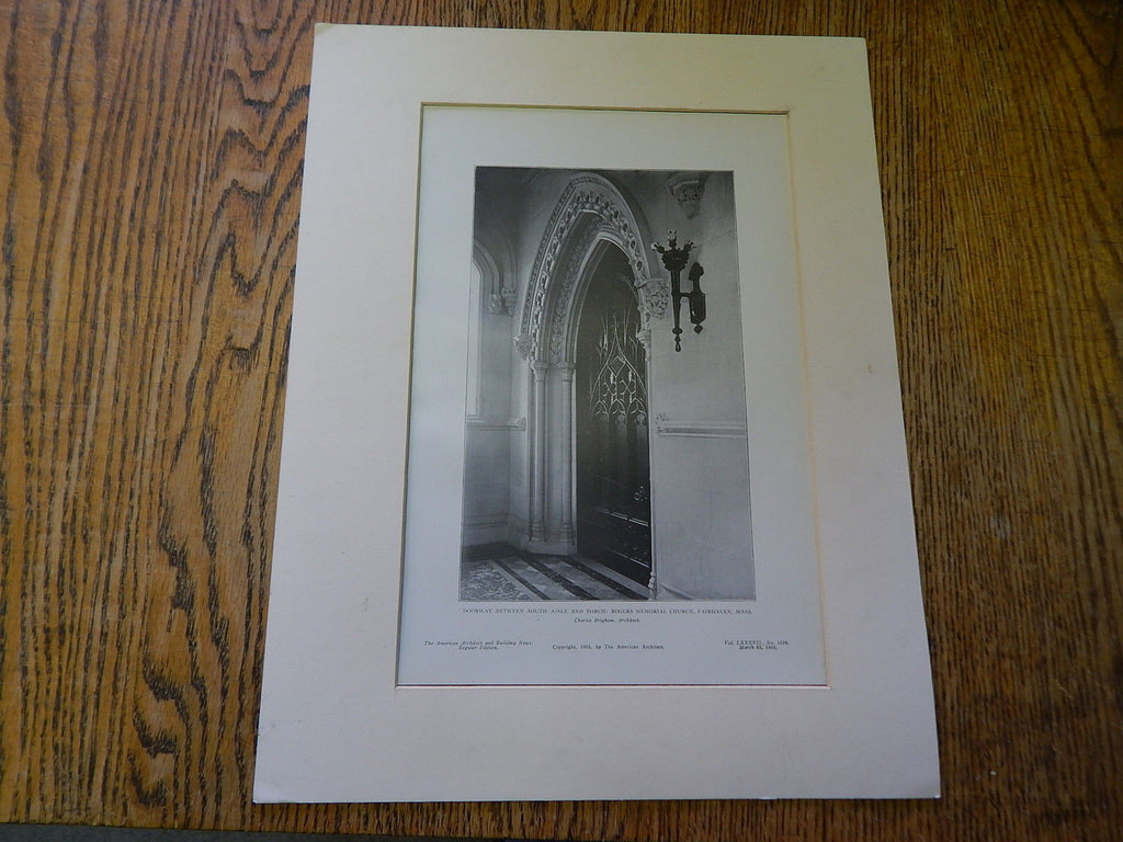 Doorway, Rogers Memorial Church, Fairhaven, MA,1905, Lithograph. Charles Brigham.