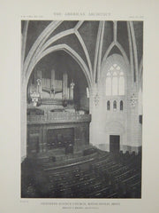 Interior, Hennepin Avenue Church, Minneapolis, MN, 1918, Lithograph. Hewitt & Brown.