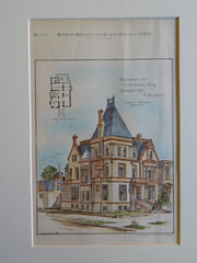 Residence of C.T. Yerks, Esq., Michigan Ave., Chicago,IL, 1884, Original Plan.Burling & Whitehouse
