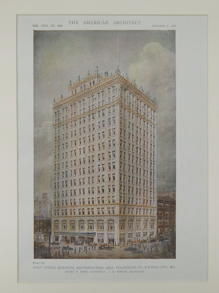 Main Office, Southwestern Bell Telephone, Kansas City, MO, 1919, Original Plan. Henry F. Hoit.