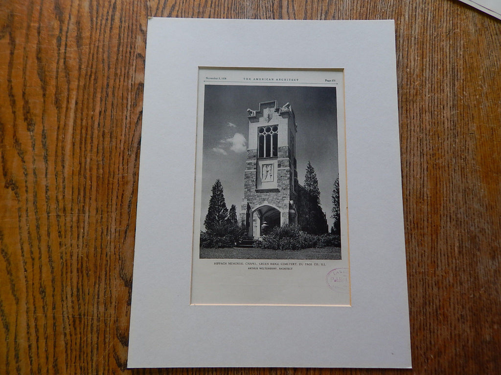 Hippach Memorial Chapel,Green Ridge Cemetery,Du Page Co.ILL.,#2,1928, Lithograph. Arthur Woltersdorf.