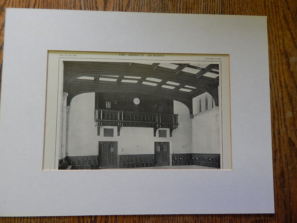 Recitation Bldg Boston College: Assembly Hall, Newton,MA, Lithograph,1914. Maginnis & Walsh.