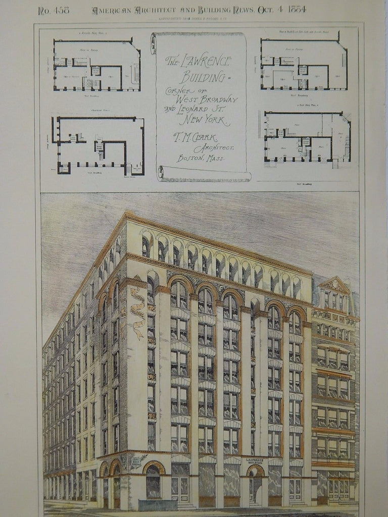 The Lawrence Building, West Broadway & Leonard, New York, NY, 1884, Original Plan. T.M. Clark.