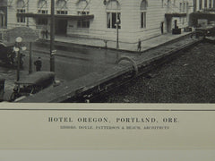 Exterior, Hotel Oregon, Portland, OR, 1914, Lithograph. Doyle, Patterson & Beach.