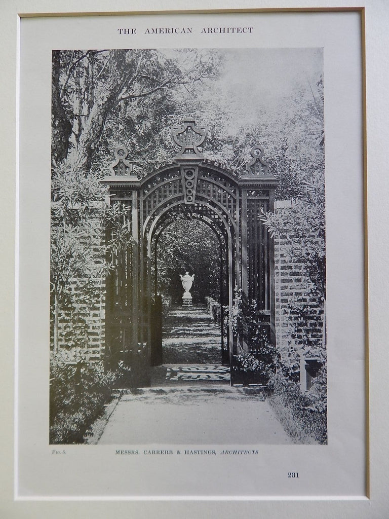 Garden Gate with Lattice, Lithograph. Messrs. Carrere & Hastings, Architects.