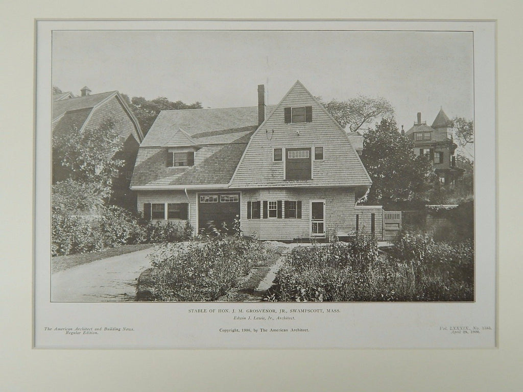 Stable of Hon. J. M. Grosvenor, Jr., Swampscott, MA, 1906, Lithograph. Edwin J. Lewis, Jr.