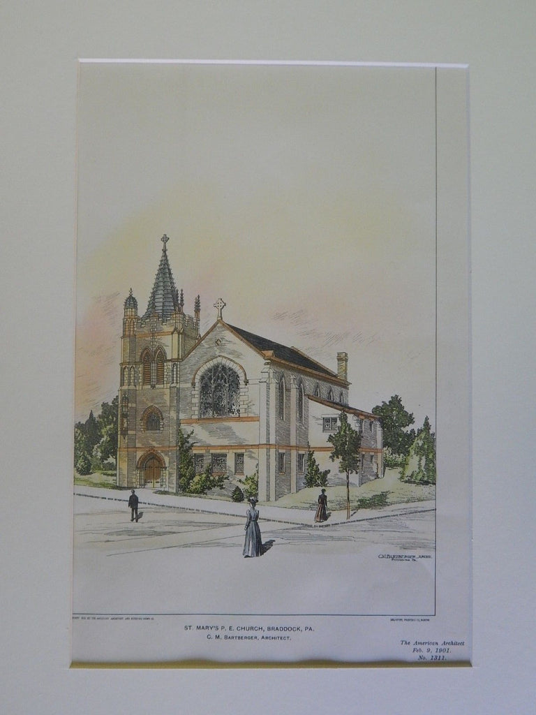 St. Mary's P.E. Church, Braddock, PA, 1901, Original Plan. C.M. Bartberger.