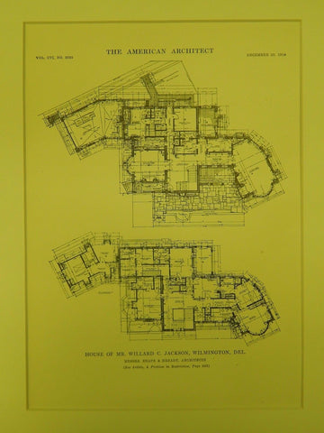 Floor Plans, House of Mr. Willard C. Jackson, Wilmington, DE, 1914, Original Plan. Shape & Bready