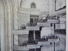 Orpheum Theatre: INTERIOR, Los Angeles, CA, Lithograph,1914. Mr. G. Albert Lansburgh.