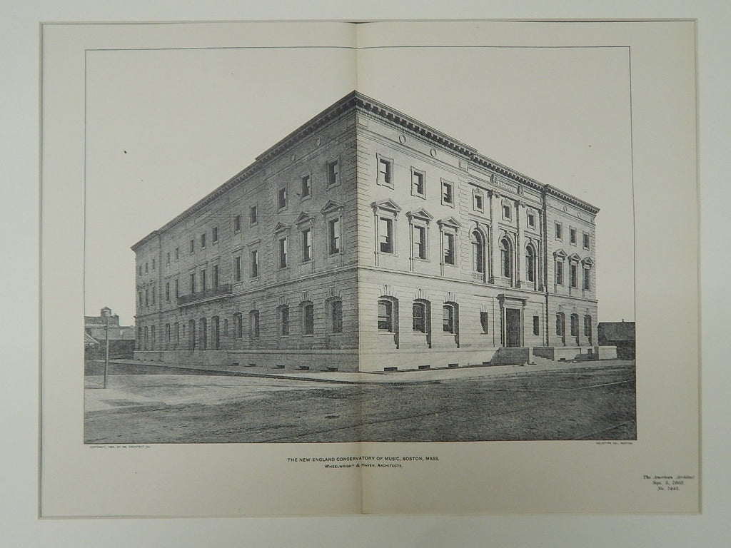 The New England Conservatory of Music, Boston, MA, 1903, Photogravure.Wheelwright & Haven.