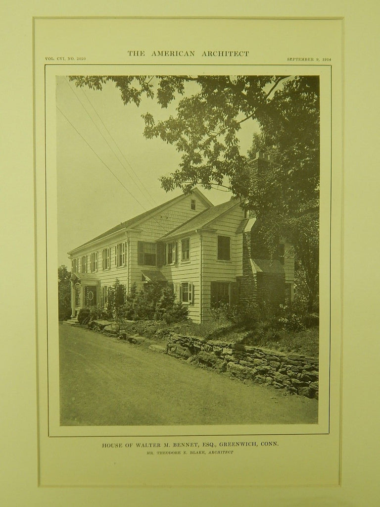 House of Walter M. Bennet, Greenwich, CT, 1914, Lithograph. Theodore E. Blake.