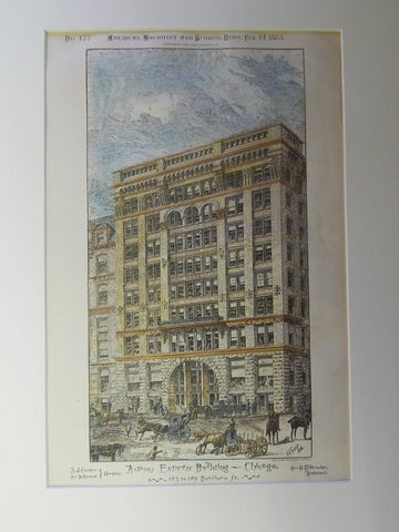Adams Express Building, 183-189 Dearborn St., Chicago, IL, 1885. Original Plan.