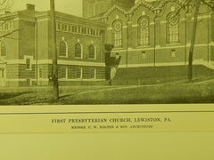 First Presbyterian Church, Lewiston, PA, 1914, Lithograph. C. W. Bolton & Son.