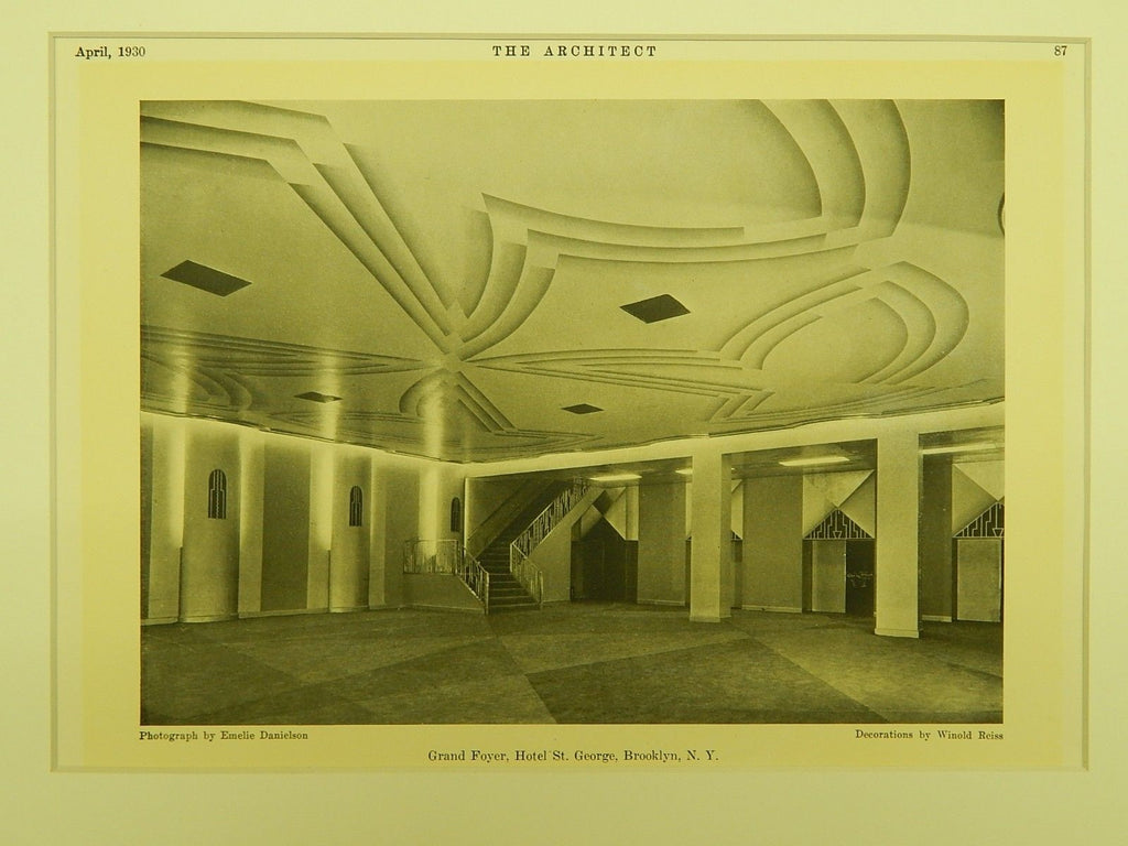 Grand Foyer, Hotel St. George, New York, NY, 1930, Lithograph.