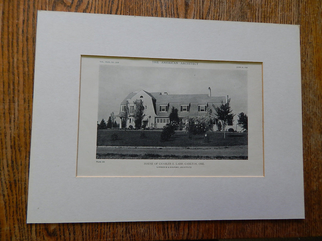 House of Charles E. Ladd, Carlton, OR, 1918,Lithograph. Lawrence & Holford.